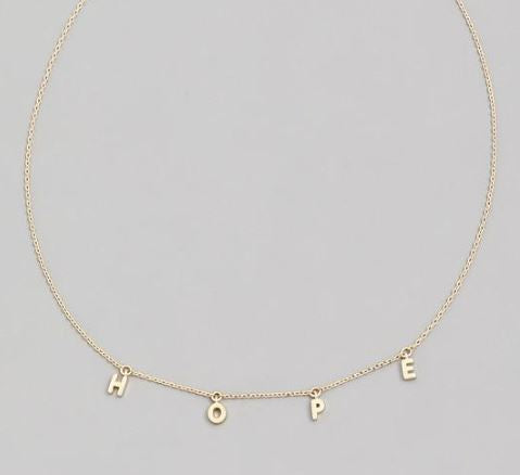 HOPE Message - Dainty Dangle style Necklace
