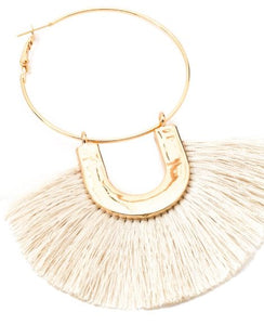 Queen Bee Fringed Hoop earrings - IVORY