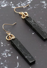 Load image into Gallery viewer, Natural Stone Drop Vertical Bar Earrings