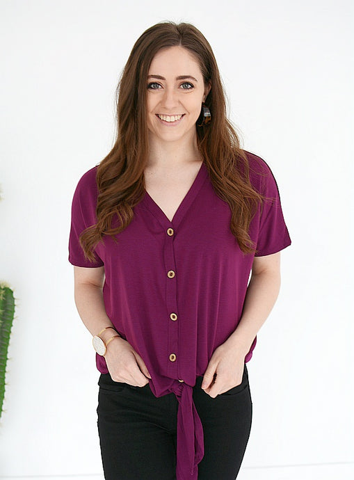 Get UP & Go Front Knot Top - PLUM