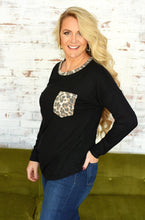 Load image into Gallery viewer, Leopard POCKET Top - BLACK - up to XL