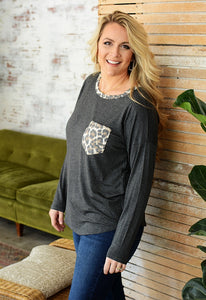 Leopard POCKET Top - CHARCOAL