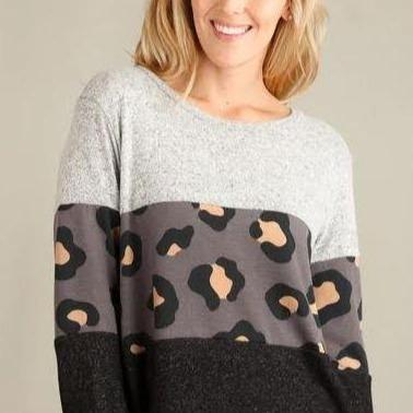 Love me Leopard Colorblock Top - Charcoal - all sales final