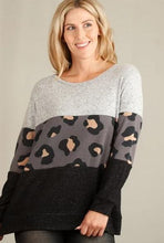 Load image into Gallery viewer, Love me Leopard Colorblock Top - Charcoal