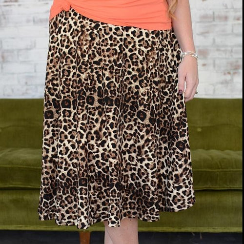 Leopard Print Midi skirt  - up to 3XL - all sales final
