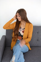Cardigan with Ribbed Trim & Pockets - MUSTARD