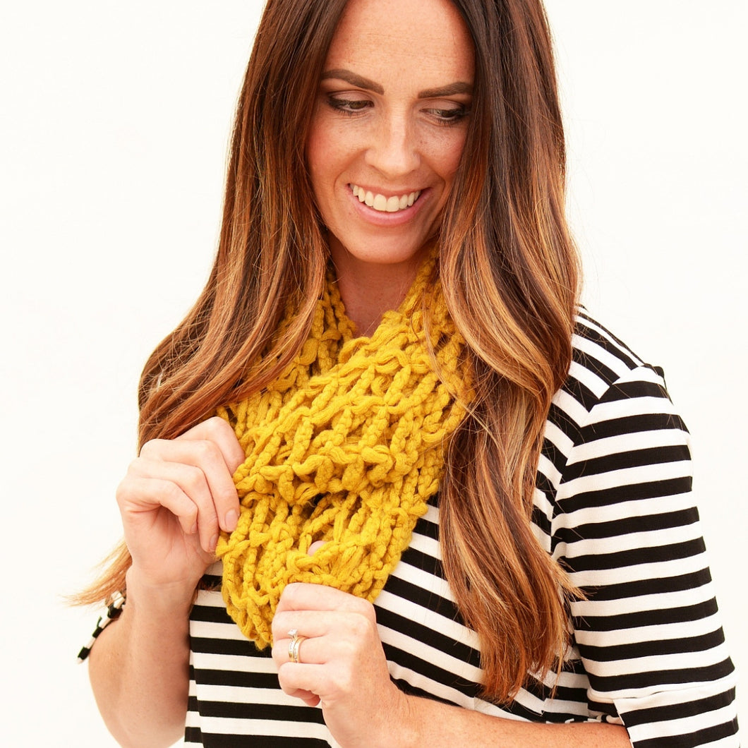 Chunky knit infinity scarf - 2 colors - all sales final