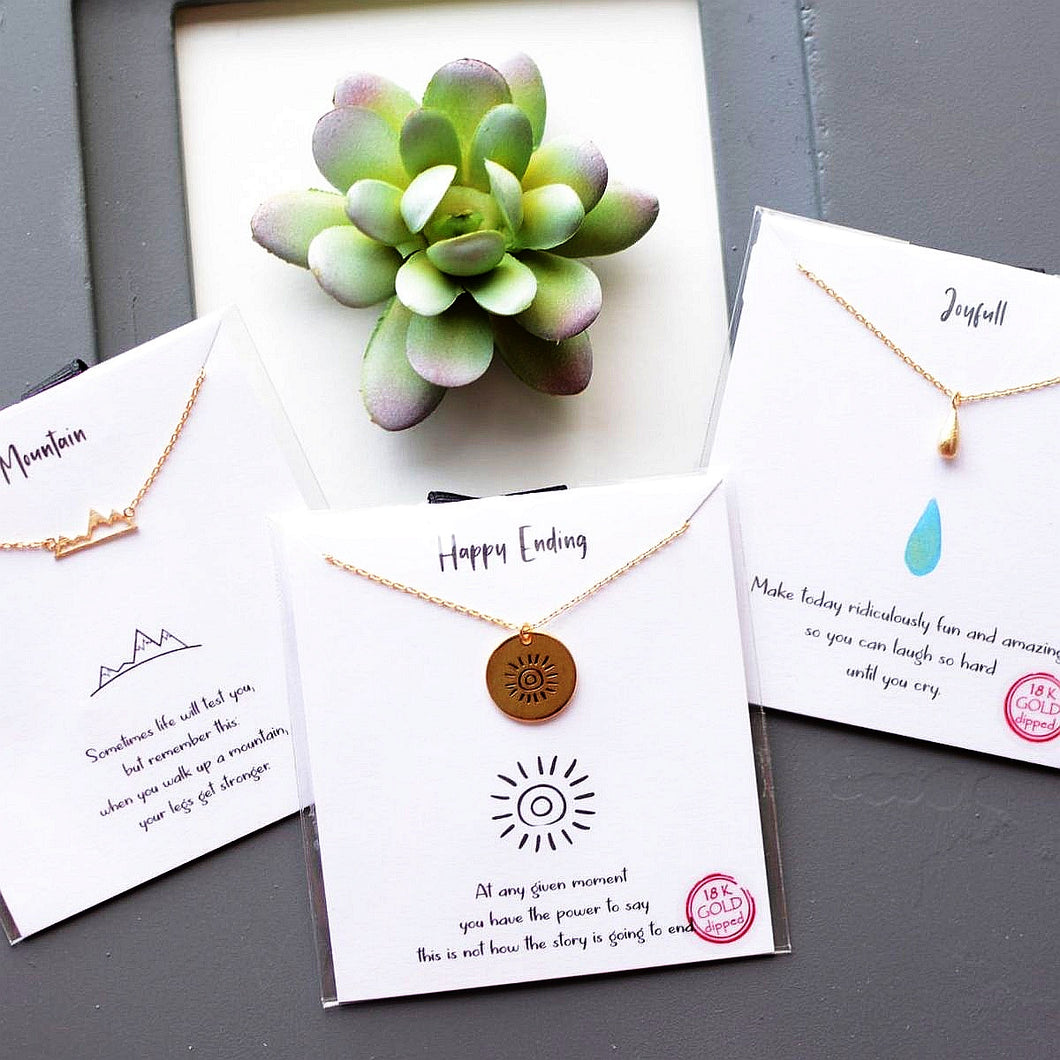 Necklace with INSPO card - GOLD - many styles!