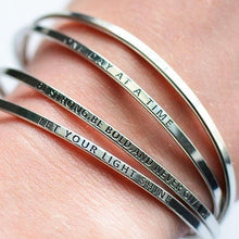 Load image into Gallery viewer, SILVER - Be Empowered Skinny Bangles