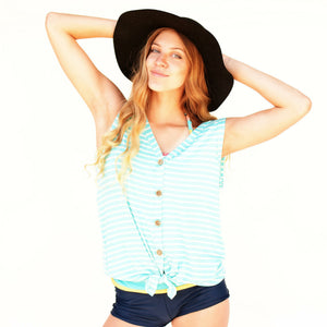 Striped Front knot Tank Top