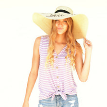 Load image into Gallery viewer, Striped Front knot Tank Top - 2 colors - All Sales Final
