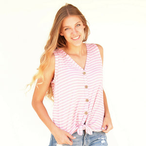 Striped Front knot Tank Top - 2 colors - All Sales Final