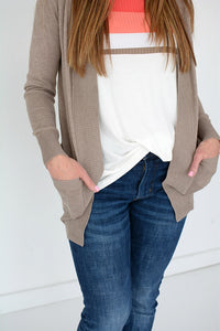 Cardigan with Ribbed Trim & Pockets - TAUPE