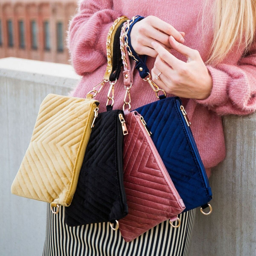 Velvet Chevron Crossbody/Clutch HandBag - 4 colors