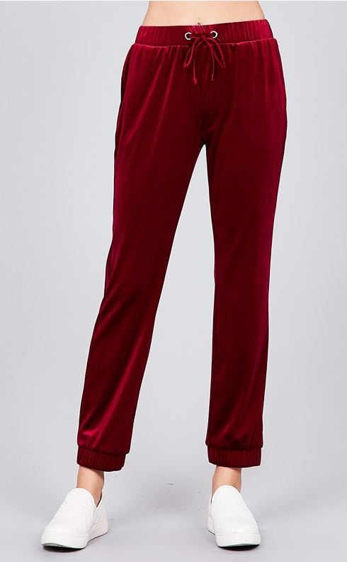 Velvet Joggers - Burgundy - all sales final