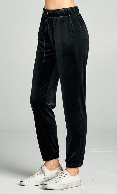 Velvet Joggers - Black - all sales final