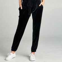 Load image into Gallery viewer, Velvet Joggers - Black - all sales final