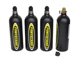 Four pack of Matte black 20oz co2 bottle with on/off valve and dust cap