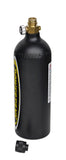 Matte black 20oz co2 bottle with on/off valve and dust cap - side view