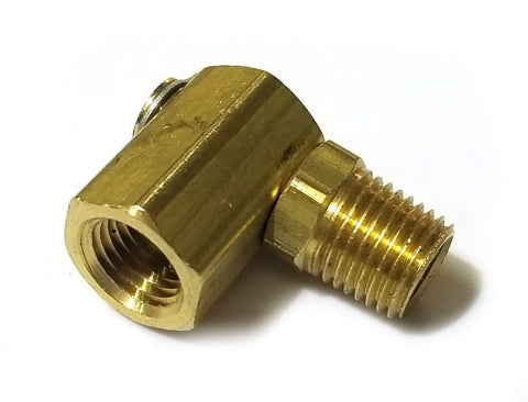 1/4 MPT x 1/4 FPT Brass Swivel Elbow - air fitting