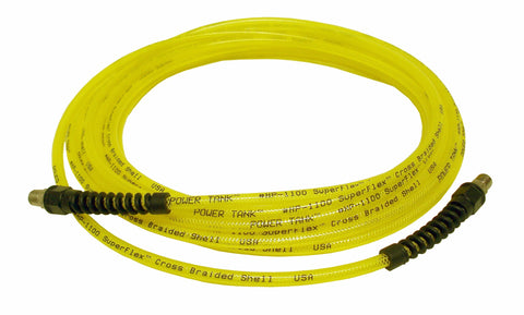 "Power Tank Air Hose 30 ft. Straight 1/4"" NPT Male Thread Superflex High Pressure Yellow Power Tank Hose"