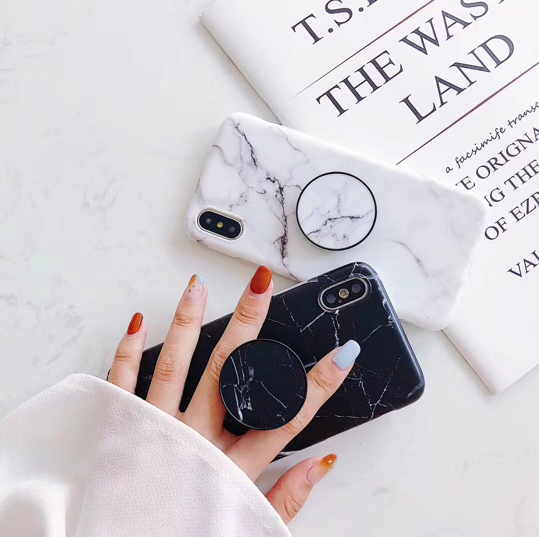 Cracked Marble iPhone Case with PopSocket - Negative Space