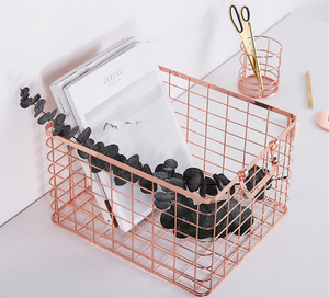 Metal Wire Storage Basket | Nordic Style Luxe Organiser - Negative Space