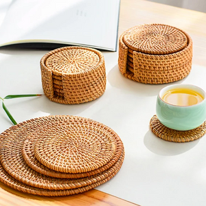 Natural Woven Rattan Coaster and Placemat Set