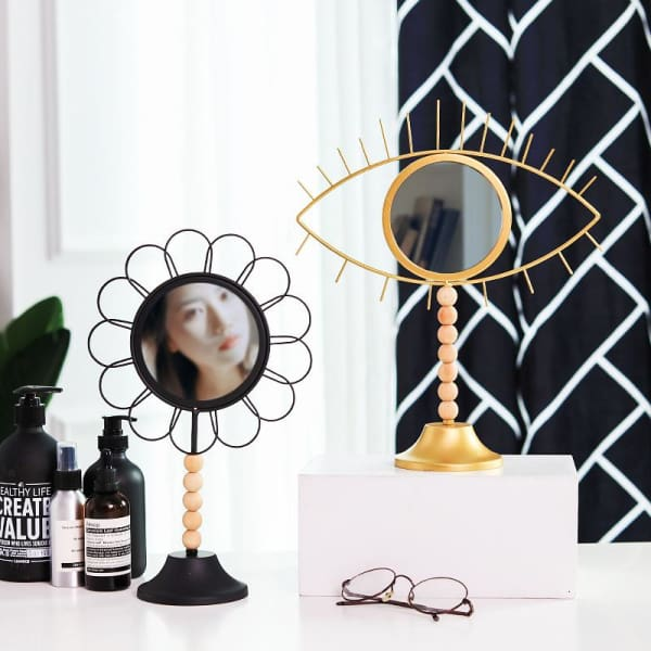 Art Deco Small Standing Mirror | Makeup Cosmetic - Negative Space