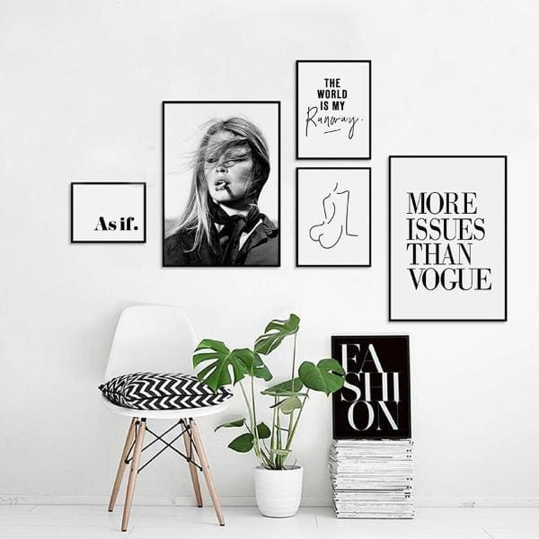Black & White Vogue Print - Decor Negative Space Free Shipping Decor Living Room Office