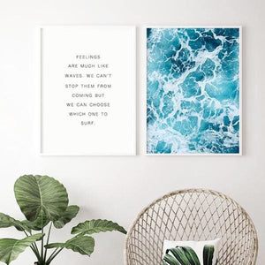 Blue Wave Quote Print - Negative Space