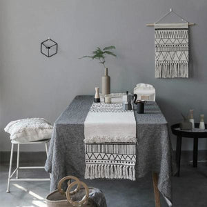 Geometric Tassel Table Runner | Boho Woven Runner - Negative Space