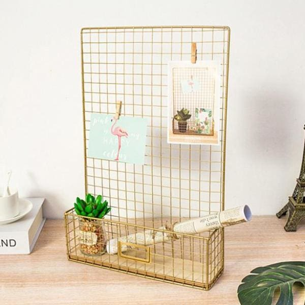 Gold Wall Grid Organiser - Negative Space