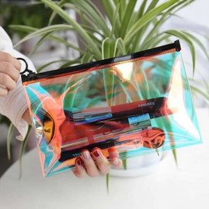 Iridescent Travel Cosmetic Bag - Lifestyle Negative Space Free Shipping Cosmetic Case Decor Gift Gifts Make-Up Bag
