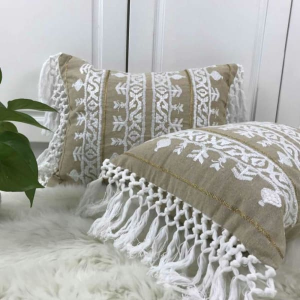 Boho Linen Tassel Cushion Cover | Hand EmbroideredNegative Space Negative Space