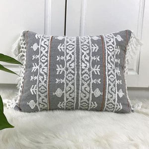 Boho Linen Tassel Cushion Cover | Hand EmbroideredGreyNegative Space Negative Space