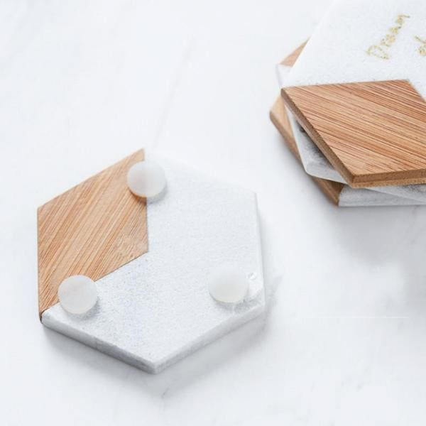 Marble & Bamboo Hexagon Coasters - Negative Space