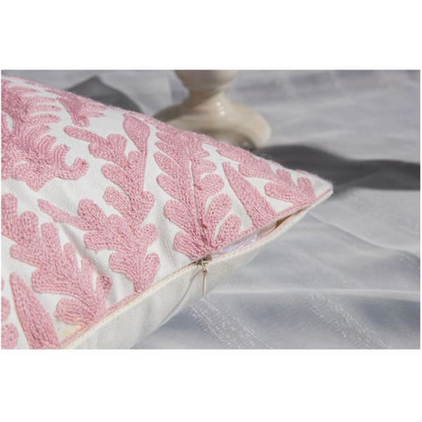 Pink Embroidered Cushion Cover - Negative Space