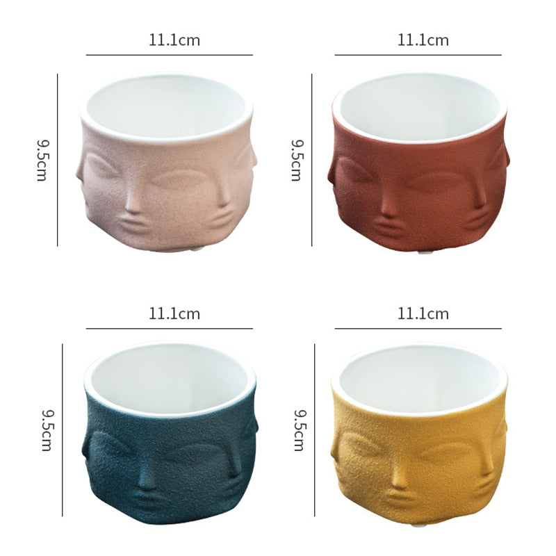 Face Ceramic Vase Planter