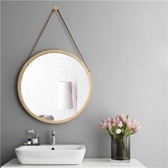 Rounded Retro Simple Wooden Framed Mirror - Negative Space