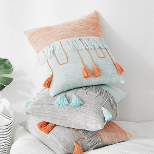 Pastel Tassel Cushion Cover | Cable Knit Multi - Negative Space