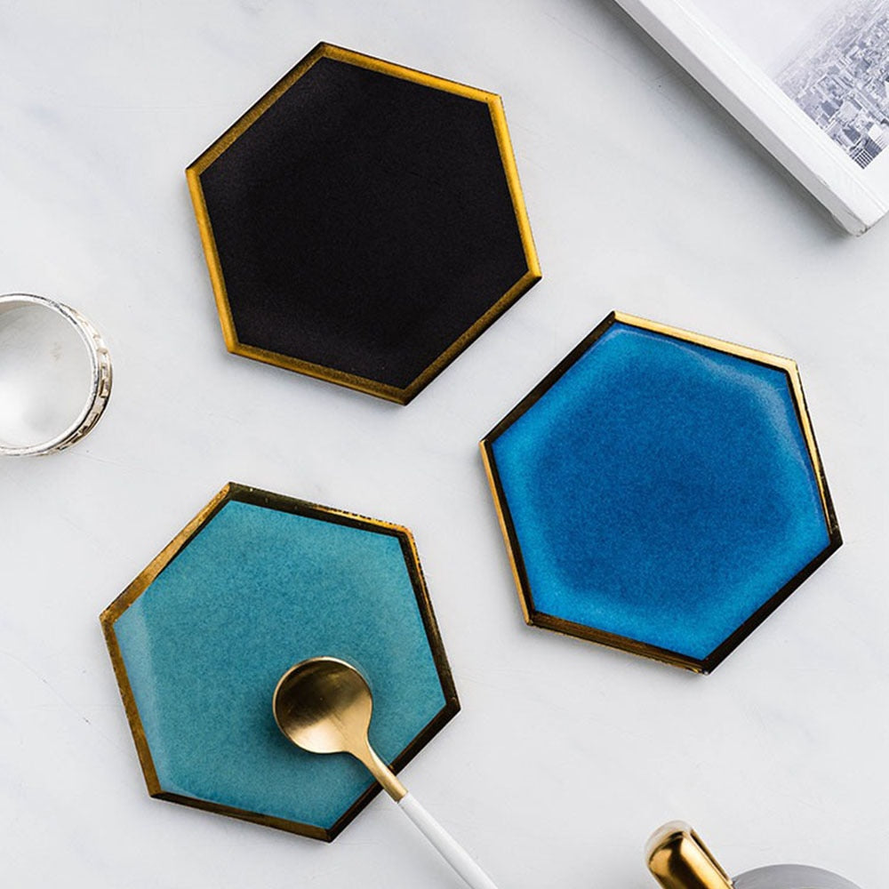 Gilded Honeycomb Geo Coasters - Negative Space