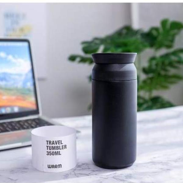 Stainless Steel Travel Coffee Tumbler - Lifestyle Negative Space Free Shipping Flask Gifts Tumbler
