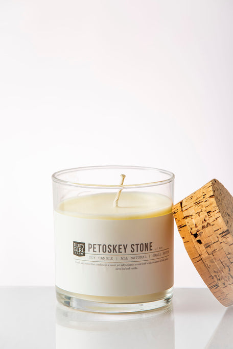Dirty Girl Farm Petoskey Stone Soy Glass Candle