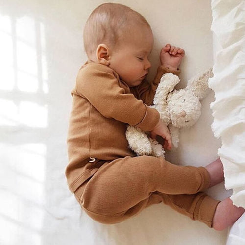 0-24M Newborn Kids Baby Boy Girl Clothing Solid Color Pajamas Pjs Set Cotton Sleepwear Nightwear Cute Clothes Outfit home wear - Babypalaces
