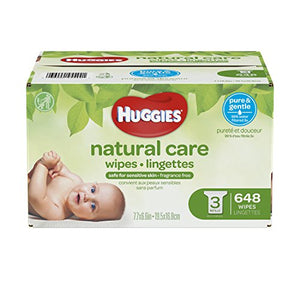 Huggies Natural Care Unscented Baby Wipes, Sensitive, Hypoallergenic, Water-Based, 3 Refill Packs, 648 Count Total: Health & Personal Care - Babypalaces