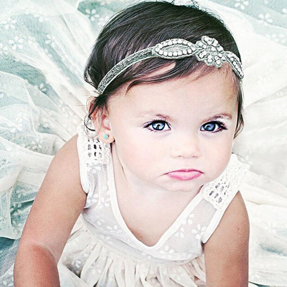 Baby Infant Kids Hair Accessories Glittery Crystal Rhinestone Headband Baby Girl Hairband Head Wrap - Babypalaces