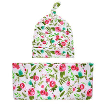 Newborn Photography Props Floral Print Baby Beanie Hat + Wraps Blanket Baby Fotografia Accessories for Babies 1 Set