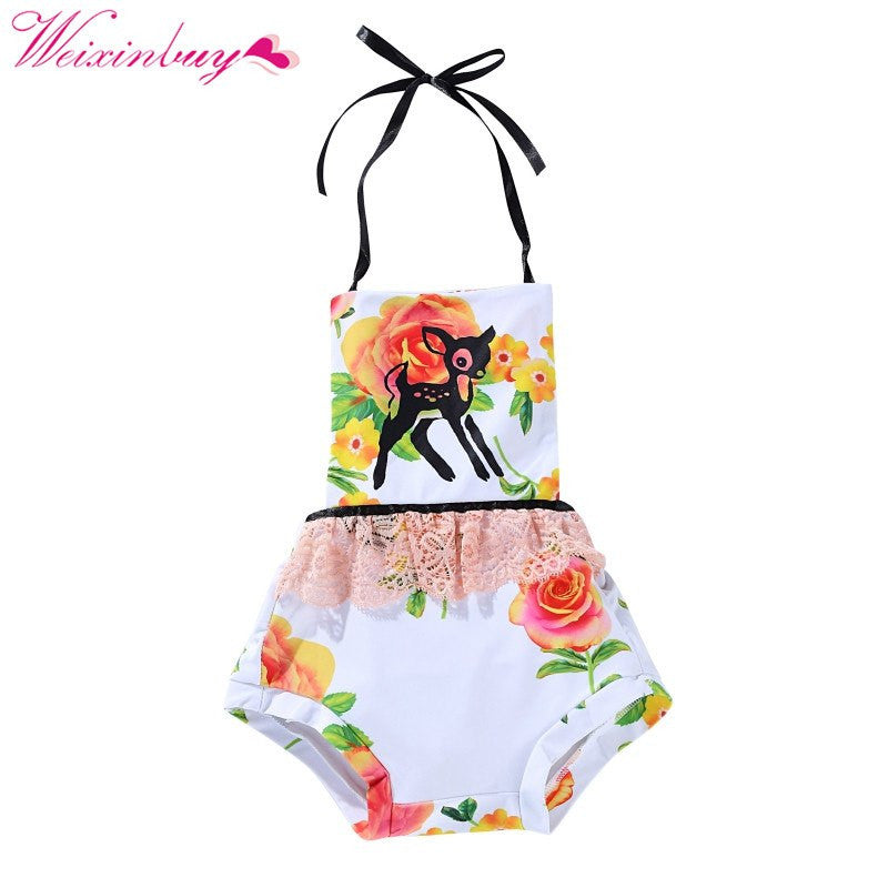 Baby Clothes Baby Bodysuits Coveralls Baby Girl Clothes Summer Print Suspenders Coveralls Fashion Newborn Baby Bodysuits