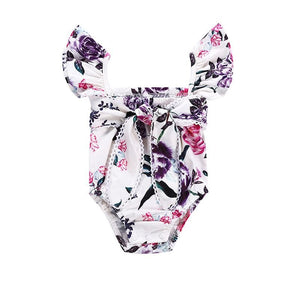 Summer Baby Girl Strap Sleeveless Bodysuit Flower Print Dress Infant Jumpsuit Outfits Newborn Clothes